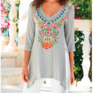 Embroidered Tunic Adora top Soft Surroundings Med